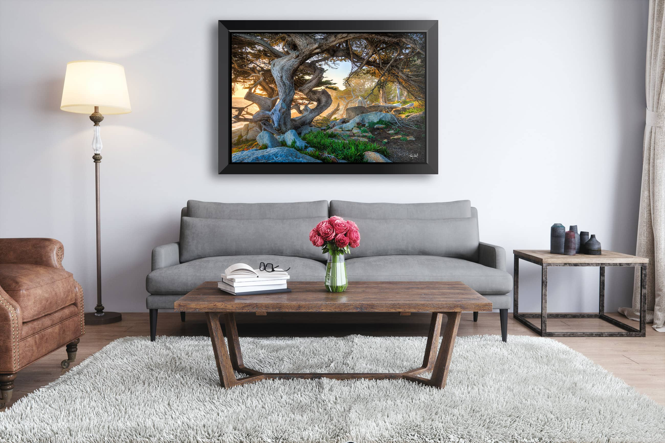 Framed Print By Troy Ziel Called Twisted Cypress In A Living Room Setting U2013  Metal Print With Attractive Float Frame In Black. Part 96